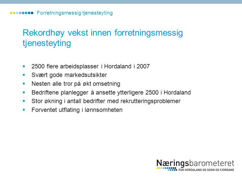 Rekordhøy vekst innen forretningsmessig tjenesteyting  2500 flere arbeidsplasser i Hordaland i 2007  Svært gode markedsutsikter  Nesten alle tror p