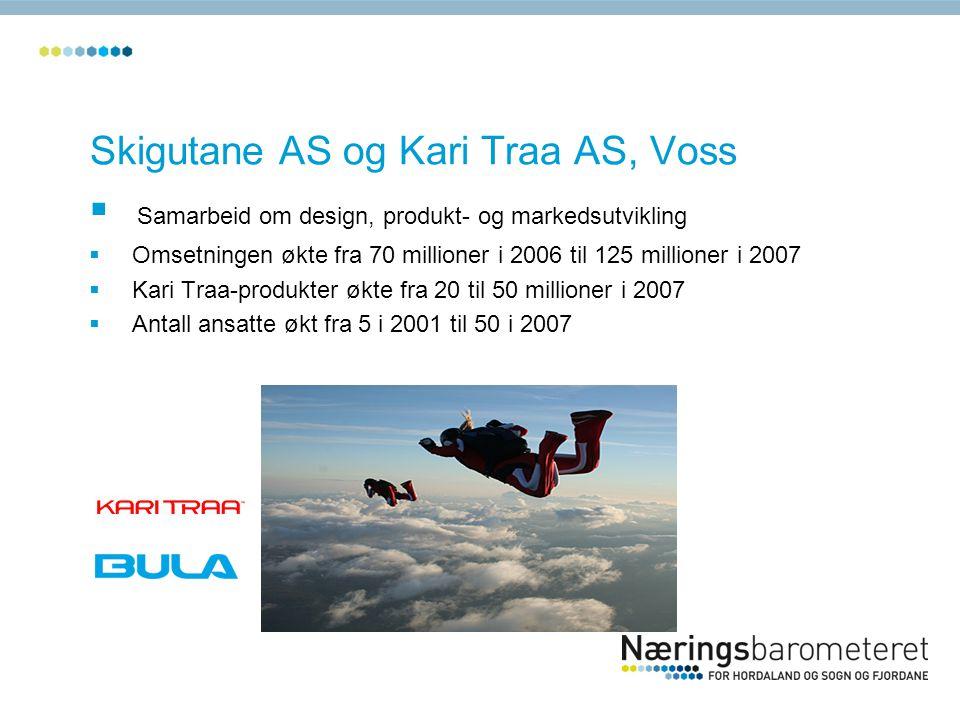 Skigutane AS og Kari Traa AS, Voss  Samarbeid om design, produkt- og markedsutvikling  Omsetningen økte fra 70 millioner i 2006 til 125 millioner i 2007  Kari Traa-produkter økte fra 20 til 50 millioner i 2007  Antall ansatte økt fra 5 i 2001 til 50 i 2007