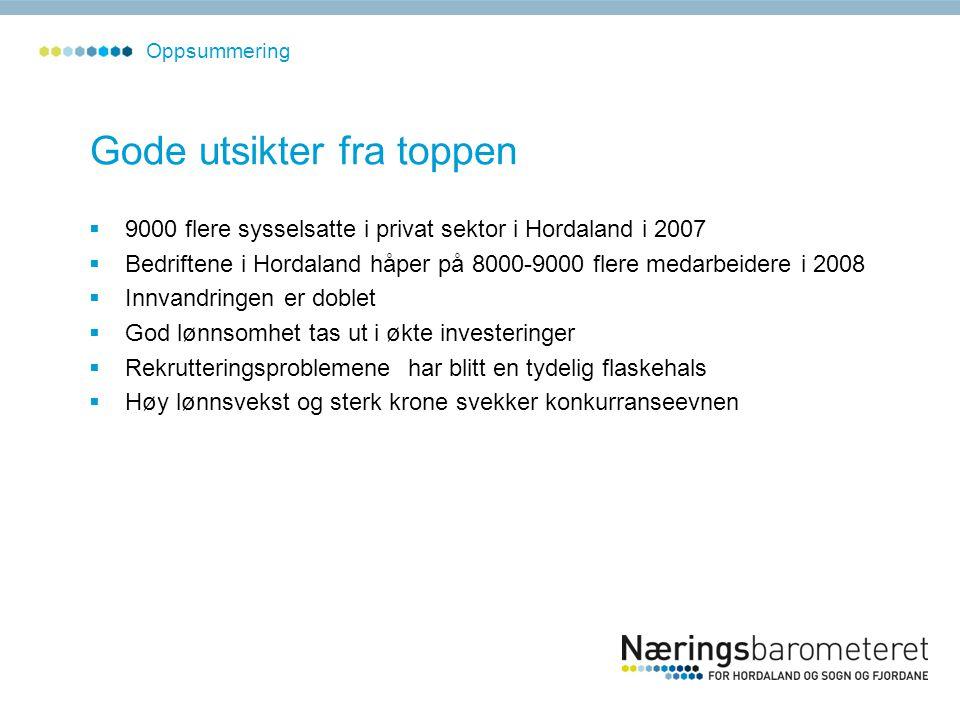 Gode utsikter fra toppen  9000 flere sysselsatte i privat sektor i Hordaland i 2007  Bedriftene i Hordaland håper på 8000-9000 flere medarbeidere i