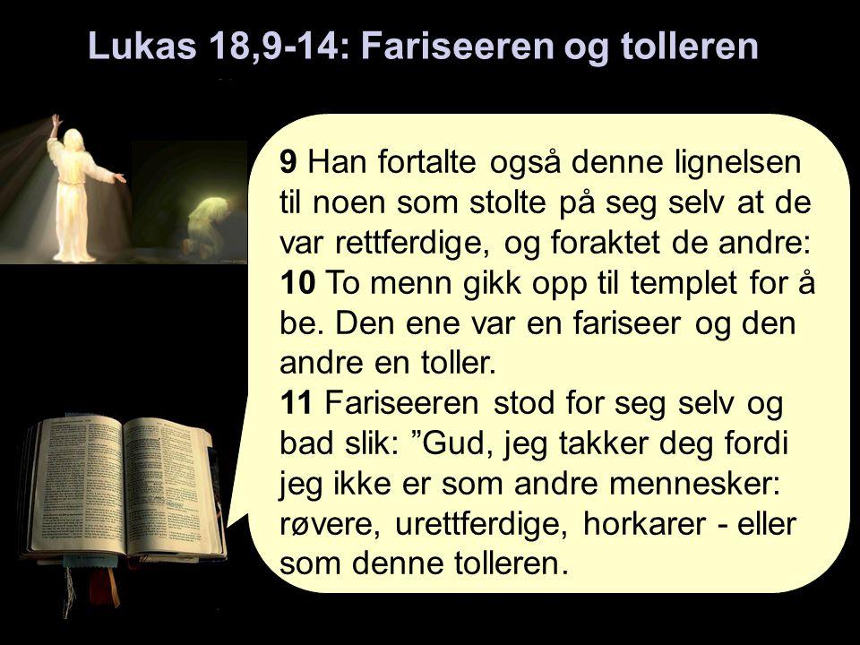 9 Han fortalte også denne lignelsen til noen som stolte på seg selv at de var rettferdige, og foraktet de andre: 10 To menn gikk opp til templet for å be.