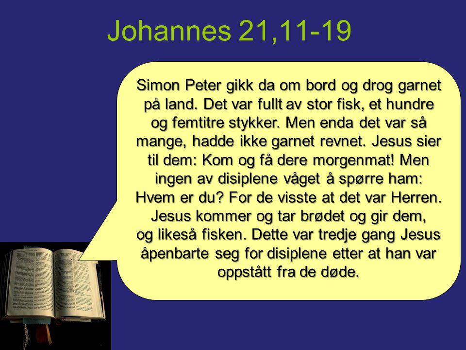 Johannes 21,11-19 Da de hadde holdt måltid, sier Jesus til Simon Peter: Simon, Johannes sønn, elsker du meg mer enn disse.