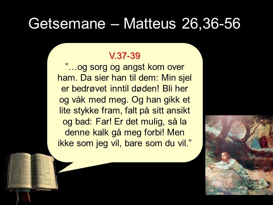 """Getsemane – Matteus 26,36-56 V.37-39 """"…og sorg og angst kom over ham. Da sier han til dem: Min sjel er bedrøvet inntil døden! Bli her og våk med meg."""