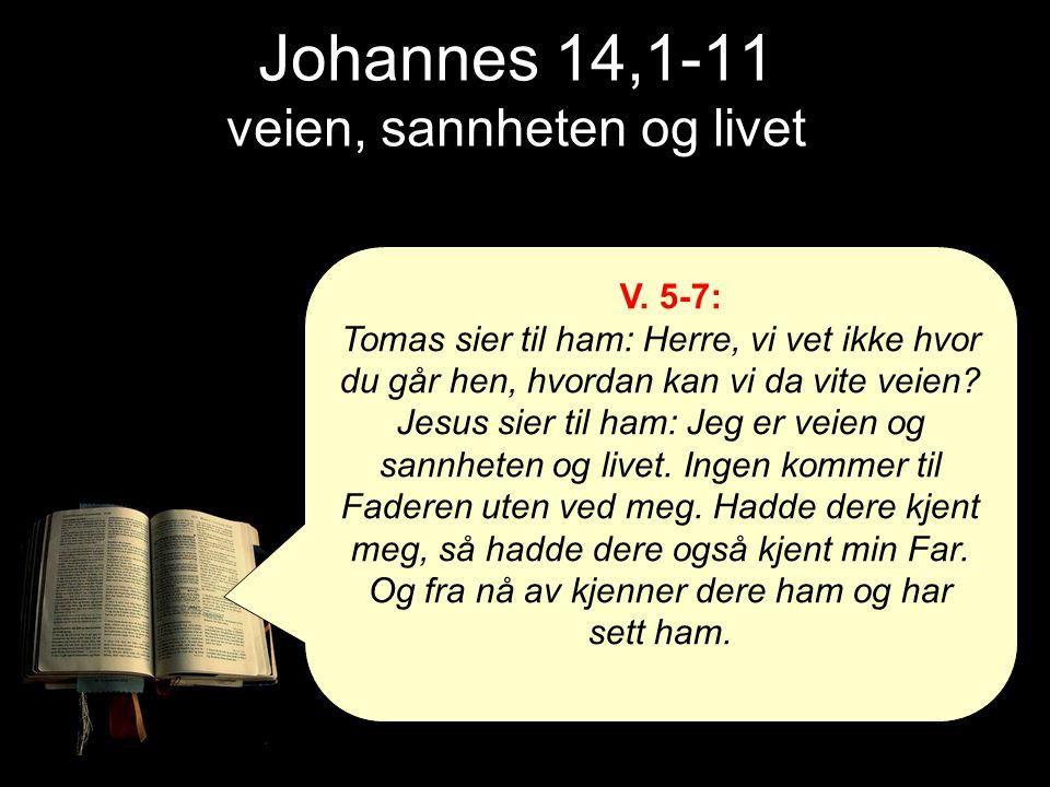 Johannes 14,1-11 veien, sannheten og livet V. 5-7: Tomas sier til ham: Herre, vi vet ikke hvor du går hen, hvordan kan vi da vite veien? Jesus sier ti