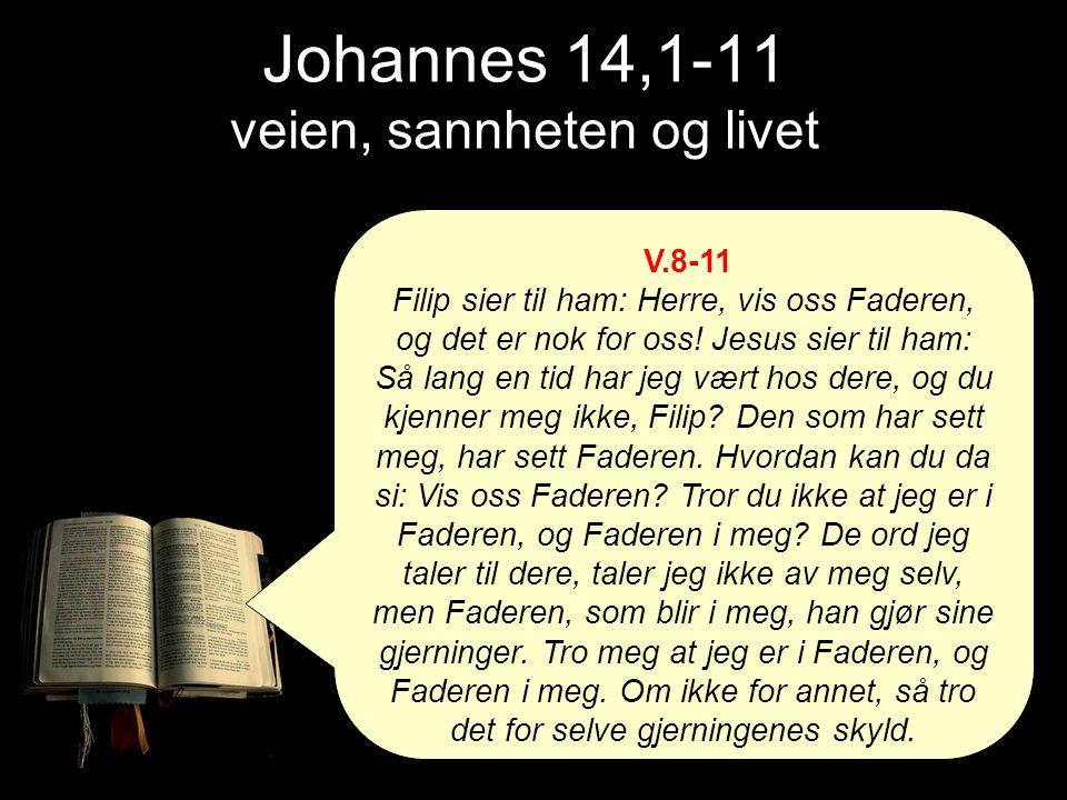 Johannes 14,1-11 veien, sannheten og livet V.8-11 Filip sier til ham: Herre, vis oss Faderen, og det er nok for oss! Jesus sier til ham: Så lang en ti