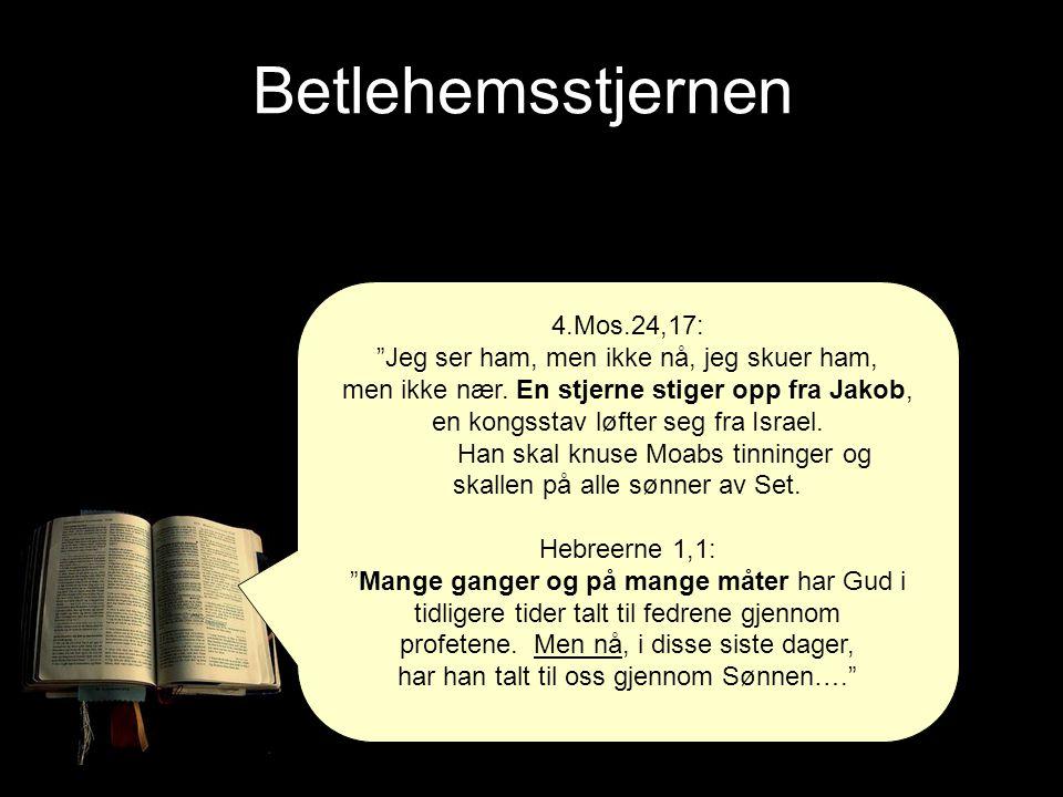 """4.Mos.24,17: """"Jeg ser ham, men ikke nå, jeg skuer ham, men ikke nær. En stjerne stiger opp fra Jakob, en kongsstav løfter seg fra Israel. Han skal knu"""