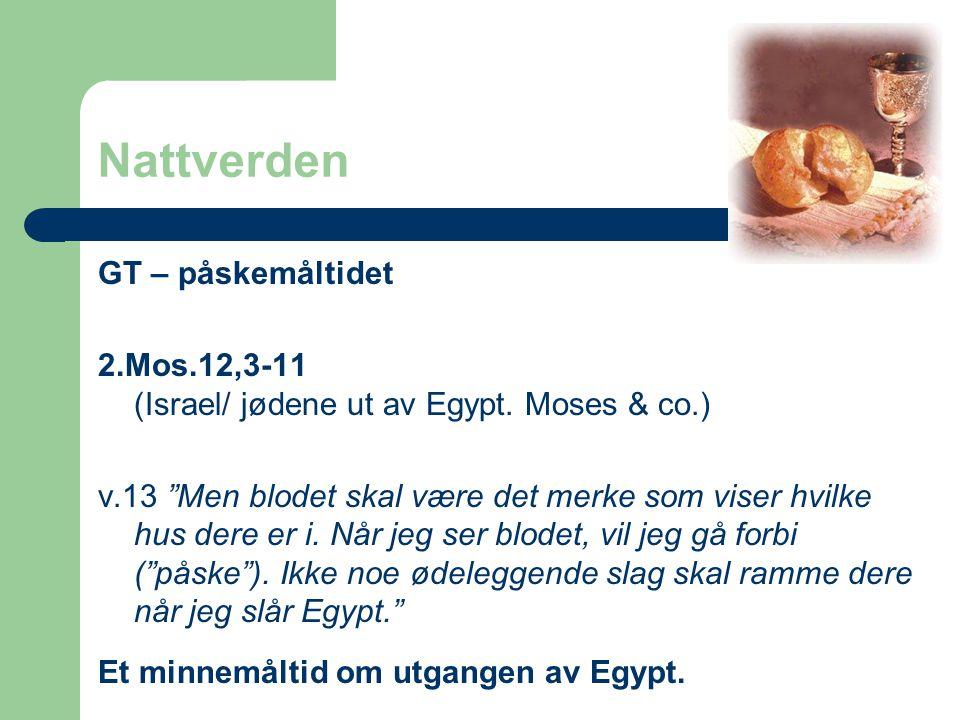 """Nattverden GT – påskemåltidet 2.Mos.12,3-11 (Israel/ jødene ut av Egypt. Moses & co.) v.13 """"Men blodet skal være det merke som viser hvilke hus dere e"""