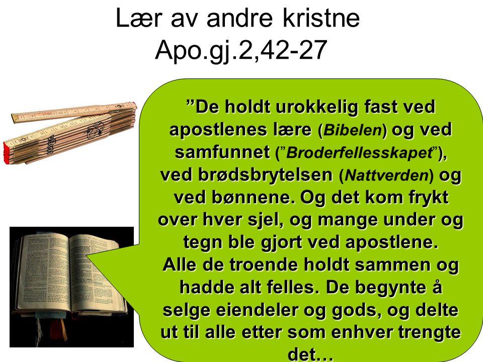 Lær av andre kristne Apo.gj.2,42-27 De holdt urokkelig fast ved apostlenes lære () og ved samfunnet ), ved brødsbrytelsen og ved bønnene.