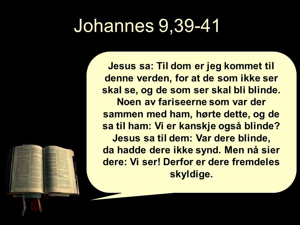 Johannes 9,39-41 Jesus sa: Til dom er jeg kommet til denne verden, for at de som ikke ser skal se, og de som ser skal bli blinde.