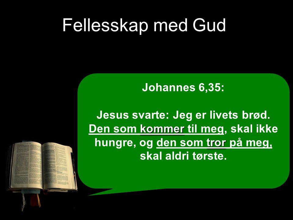 Fellesskap med Gud Johannes 6,35: kommer tror Jesus svarte: Jeg er livets brød. Den som kommer til meg, skal ikke hungre, og den som tror på meg, skal