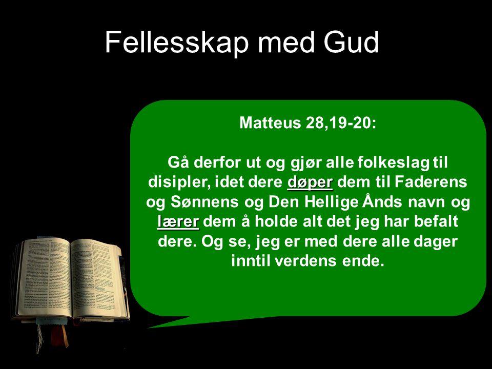 Fellesskap med Gud Matteus 28,19-20: døper lærer Gå derfor ut og gjør alle folkeslag til disipler, idet dere døper dem til Faderens og Sønnens og Den
