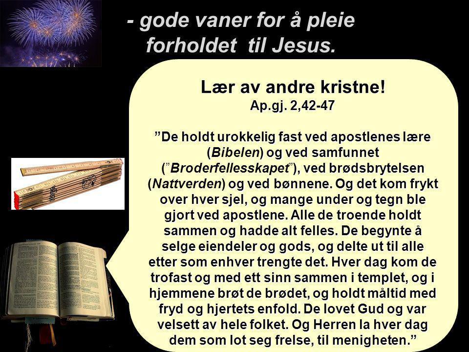 """Lær av andre kristne! Ap.gj. 2,42-47 """"De holdt urokkelig fast ved apostlenes lære () og ved samfunnet ), ved brødsbrytelsen og ved bønnene. Og det kom"""