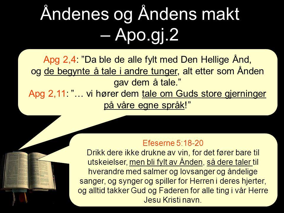 """Åndenes og Åndens makt – Apo.gj.2 Apg 2,4: """"Da ble de alle fylt med Den Hellige Ånd, og de begynte å tale i andre tunger, alt etter som Ånden gav dem"""