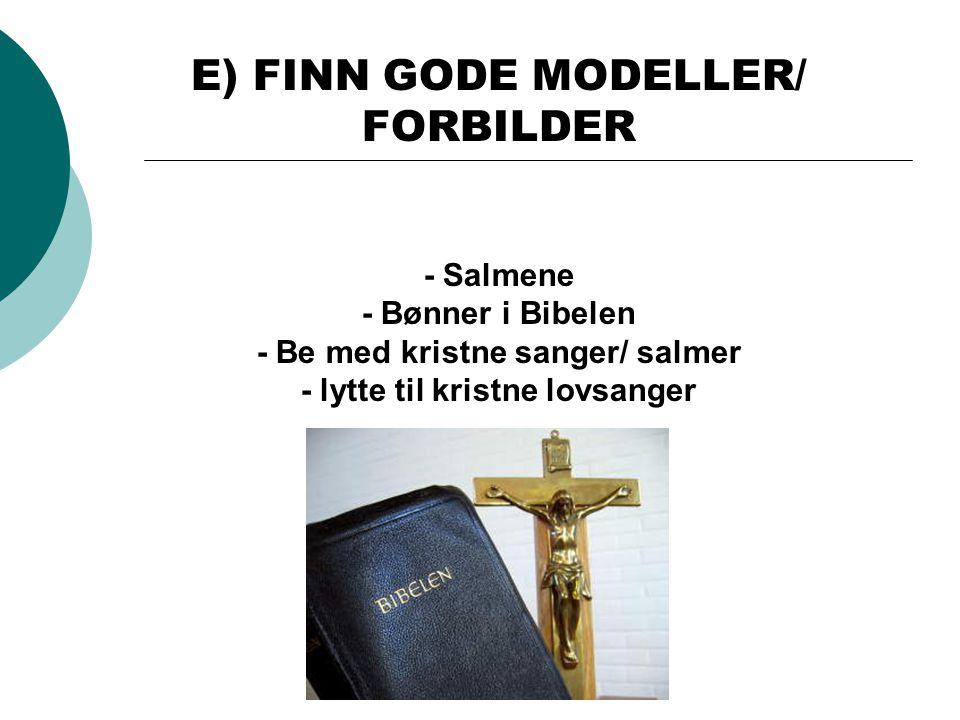 E) FINN GODE MODELLER/ FORBILDER - Salmene - Bønner i Bibelen - Be med kristne sanger/ salmer - lytte til kristne lovsanger