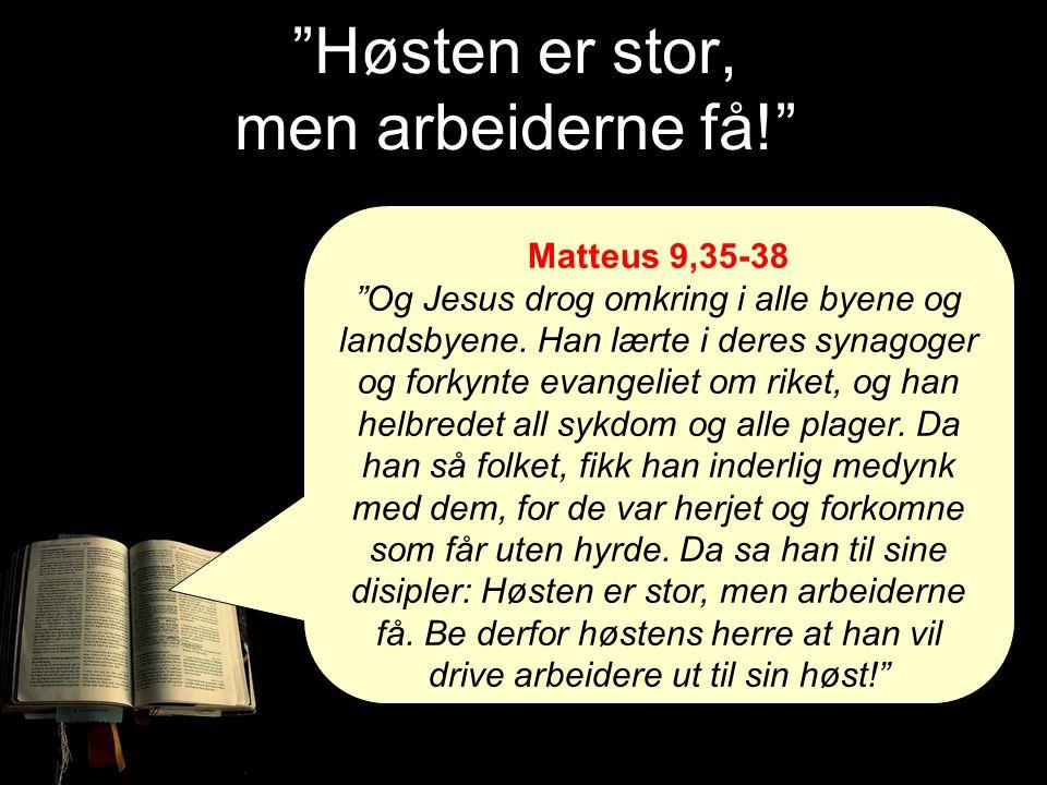 """""""Høsten er stor, men arbeiderne få!"""" Matteus 9,35-38 """"Og Jesus drog omkring i alle byene og landsbyene. Han lærte i deres synagoger og forkynte evange"""