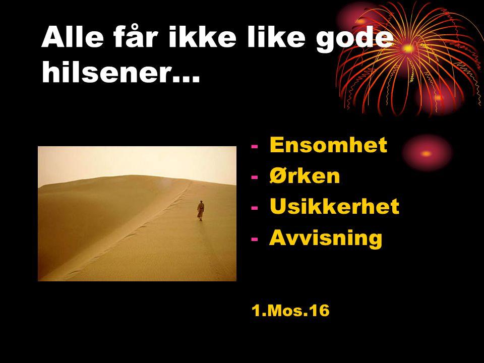 Alle får ikke like gode hilsener… -Ensomhet -Ørken -Usikkerhet -Avvisning 1.Mos.16