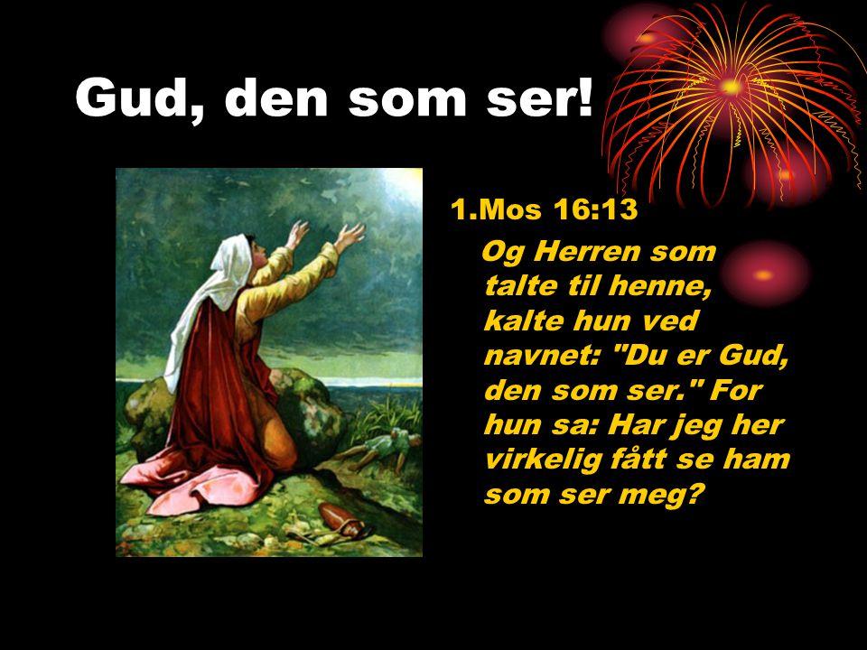 Gud, den som ser! 1.Mos 16:13 Og Herren som talte til henne, kalte hun ved navnet:
