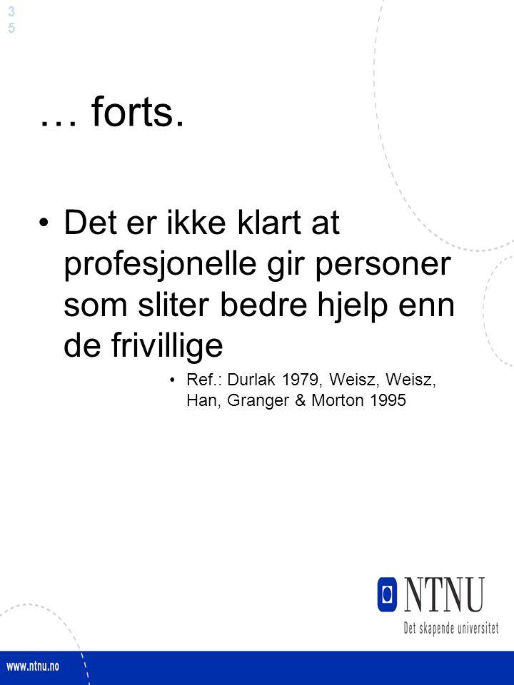 3535 … forts. Det er ikke klart at profesjonelle gir personer som sliter bedre hjelp enn de frivillige Ref.: Durlak 1979, Weisz, Weisz, Han, Granger &
