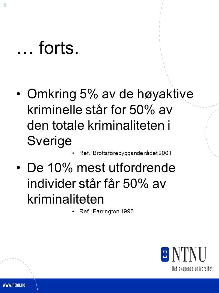 6 … forts. Omkring 5% av de høyaktive kriminelle står for 50% av den totale kriminaliteten i Sverige Ref.: Brottsförebyggande rådet 2001 De 10% mest u