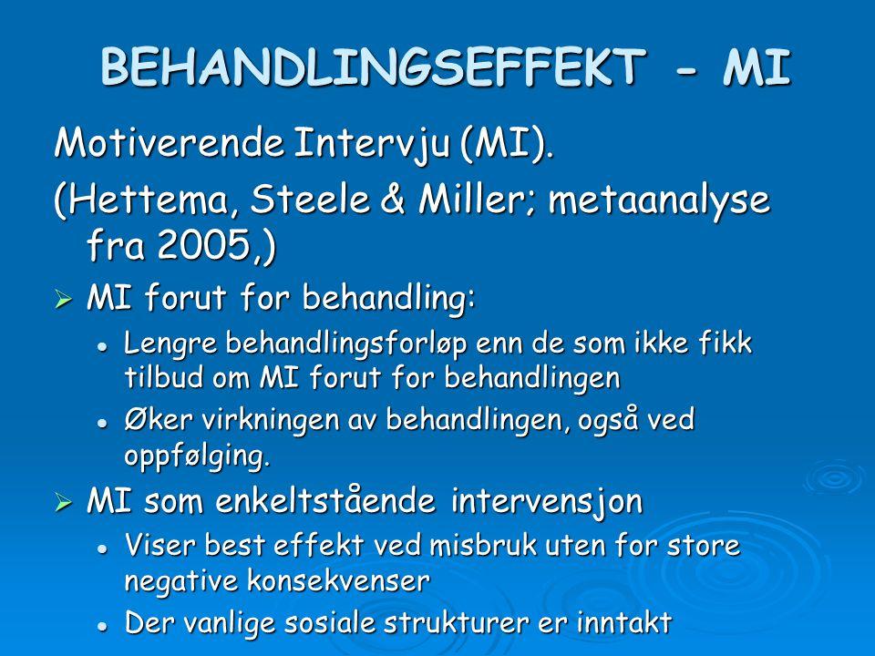 BEHANDLINGSEFFEKT - MI BEHANDLINGSEFFEKT - MI Motiverende Intervju (MI). (Hettema, Steele & Miller; metaanalyse fra 2005,)  MI forut for behandling: