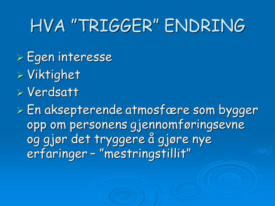 """HVA """"TRIGGER"""" ENDRING  Egen interesse  Viktighet  Verdsatt  En aksepterende atmosfære som bygger opp om personens gjennomføringsevne og gjør det t"""