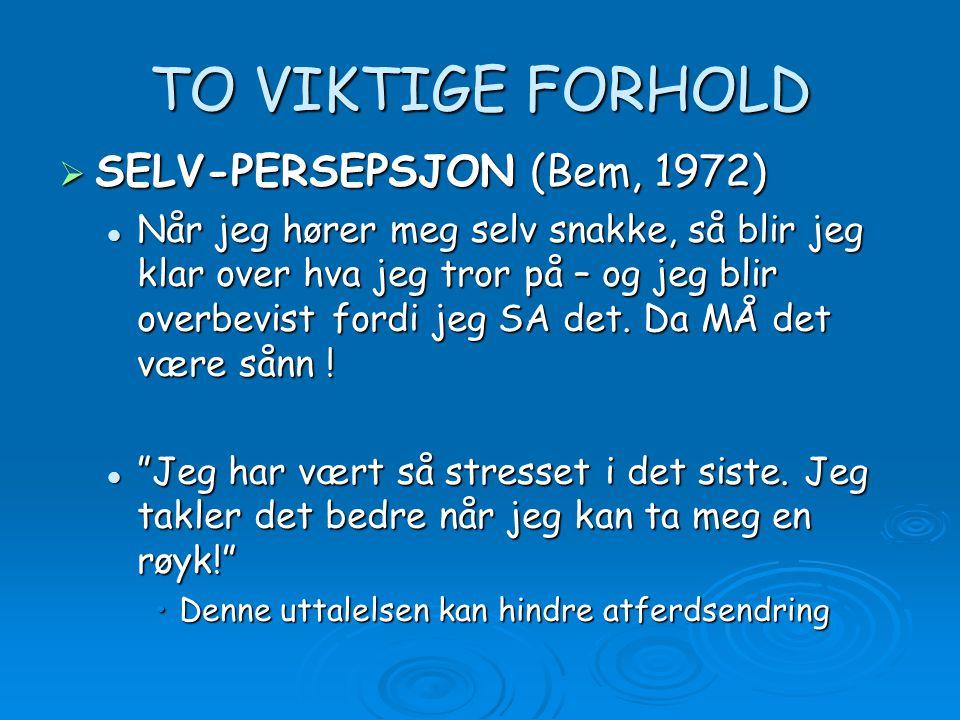 TO VIKTIGE FORHOLD  SELV-PERSEPSJON (Bem, 1972) Når jeg hører meg selv snakke, så blir jeg klar over hva jeg tror på – og jeg blir overbevist fordi j
