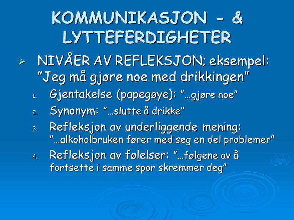 """KOMMUNIKASJON - & LYTTEFERDIGHETER  NIVÅER AV REFLEKSJON; eksempel: """"Jeg må gjøre noe med drikkingen"""" 1. Gjentakelse (papegøye): """"…gjøre noe"""" 2. Syno"""