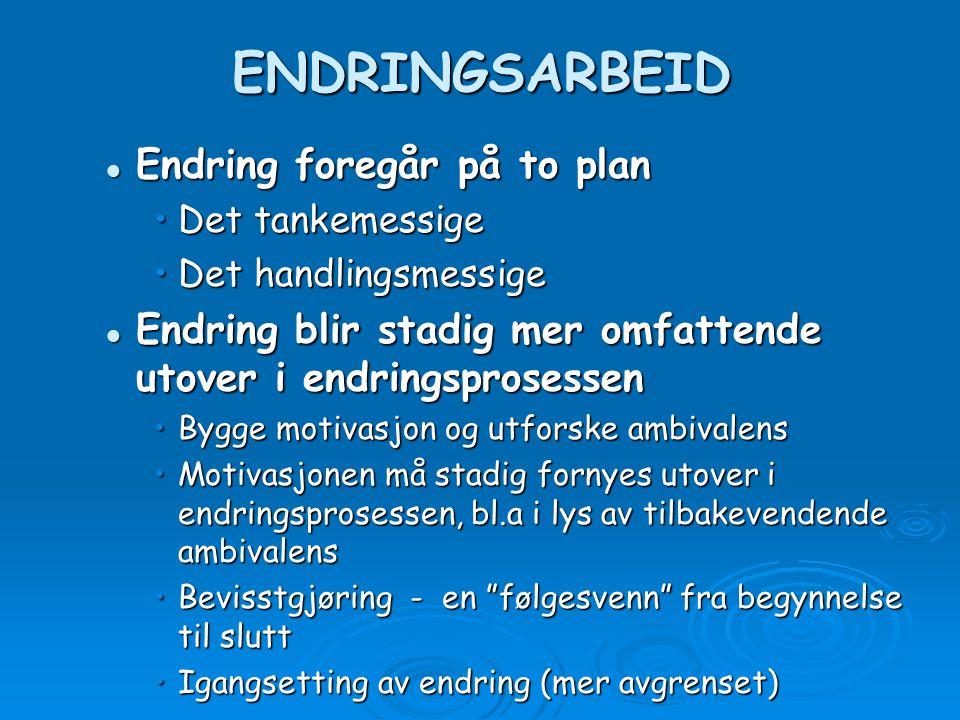 ENDRINGSARBEID Endring foregår på to plan Endring foregår på to plan Det tankemessigeDet tankemessige Det handlingsmessigeDet handlingsmessige Endring
