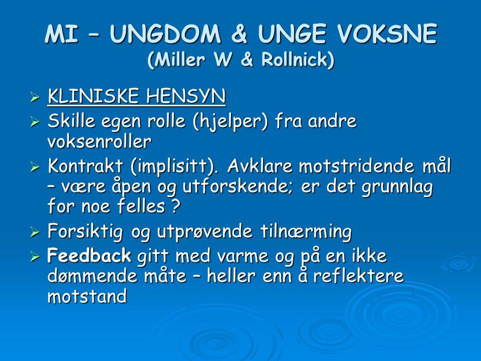 MI – UNGDOM & UNGE VOKSNE (Miller W & Rollnick)  KLINISKE HENSYN  Skille egen rolle (hjelper) fra andre voksenroller  Kontrakt (implisitt). Avklare