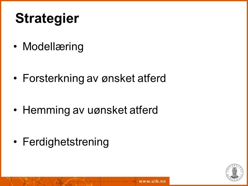 Strategier Modellæring Forsterkning av ønsket atferd Hemming av uønsket atferd Ferdighetstrening