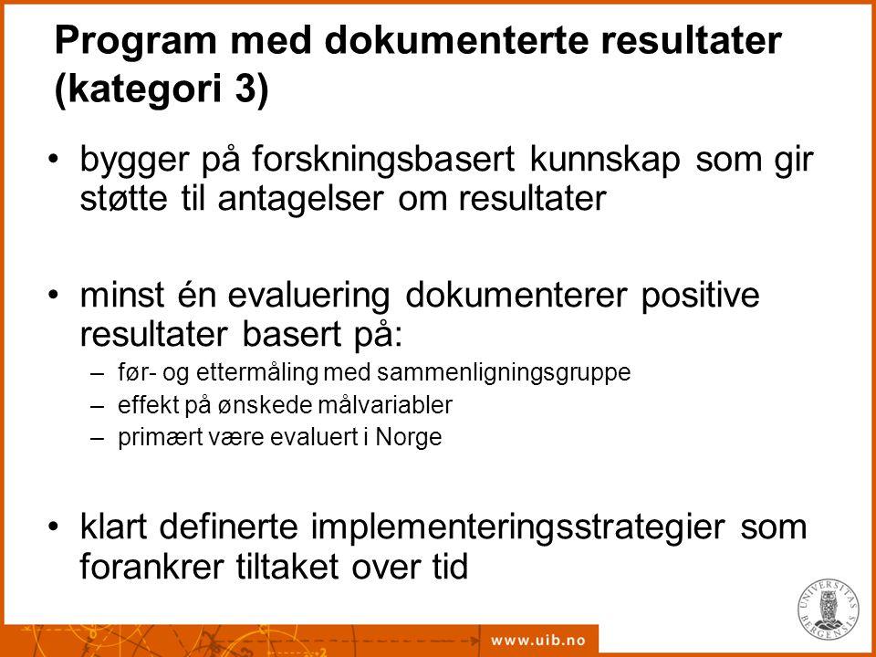 Program med dokumenterte resultater (kategori 3) bygger på forskningsbasert kunnskap som gir støtte til antagelser om resultater minst én evaluering d