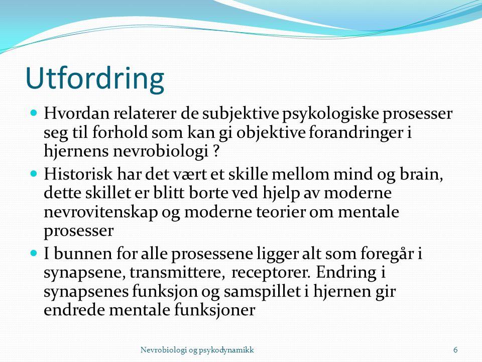 Utfordring Hvordan relaterer de subjektive psykologiske prosesser seg til forhold som kan gi objektive forandringer i hjernens nevrobiologi ? Historis