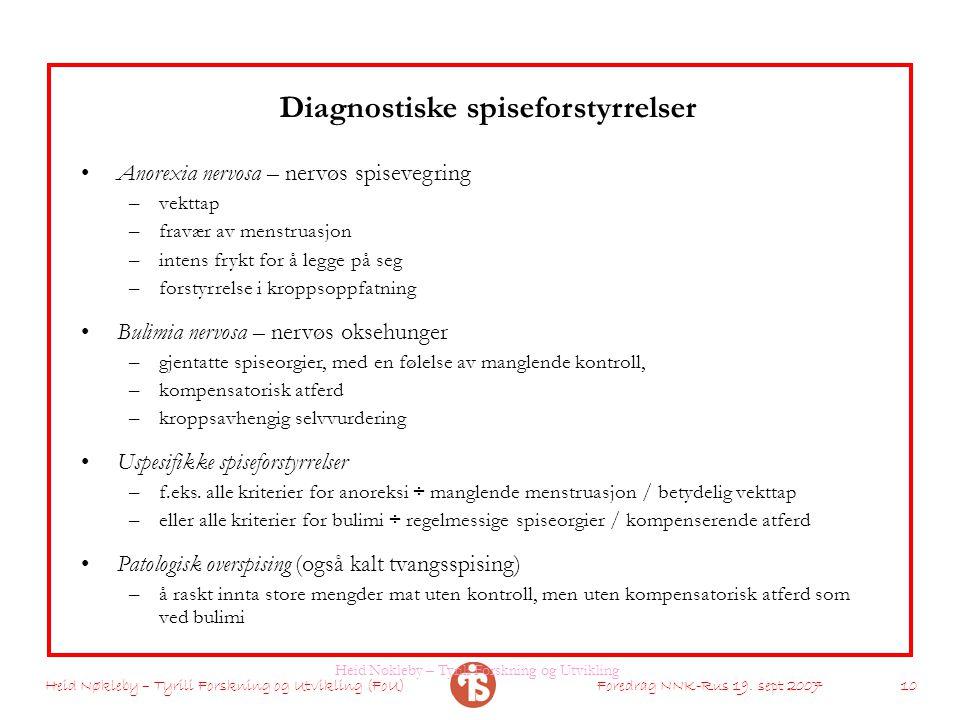 Heid Nøkleby – Tyrili Forskning og Utvikling (FoU)Foredrag NNK-Rus 19. sept 2007 10 Diagnostiske spiseforstyrrelser Anorexia nervosa – nervøs spiseveg