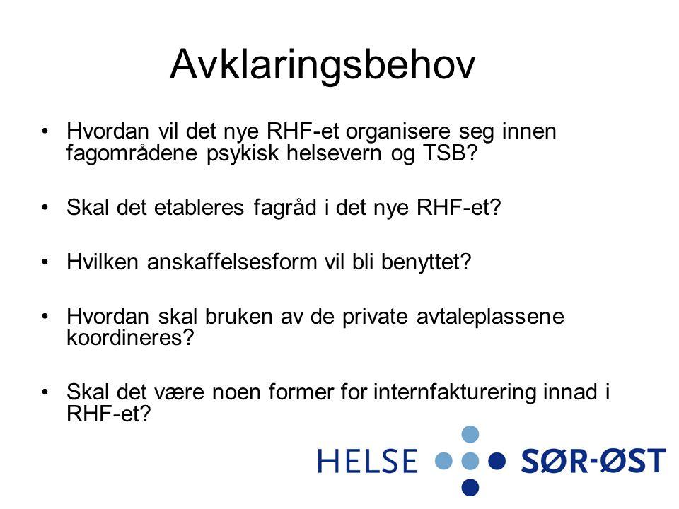 Avklaringsbehov Hvordan vil det nye RHF-et organisere seg innen fagområdene psykisk helsevern og TSB? Skal det etableres fagråd i det nye RHF-et? Hvil