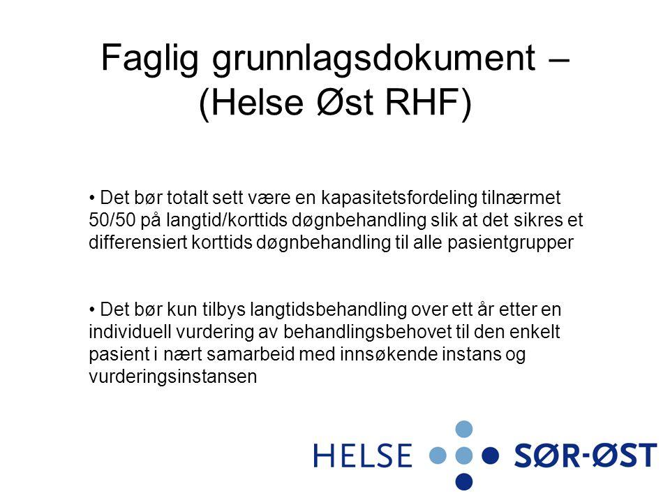 Faglig grunnlagsdokument – (Helse Øst RHF) Det bør totalt sett være en kapasitetsfordeling tilnærmet 50/50 på langtid/korttids døgnbehandling slik at