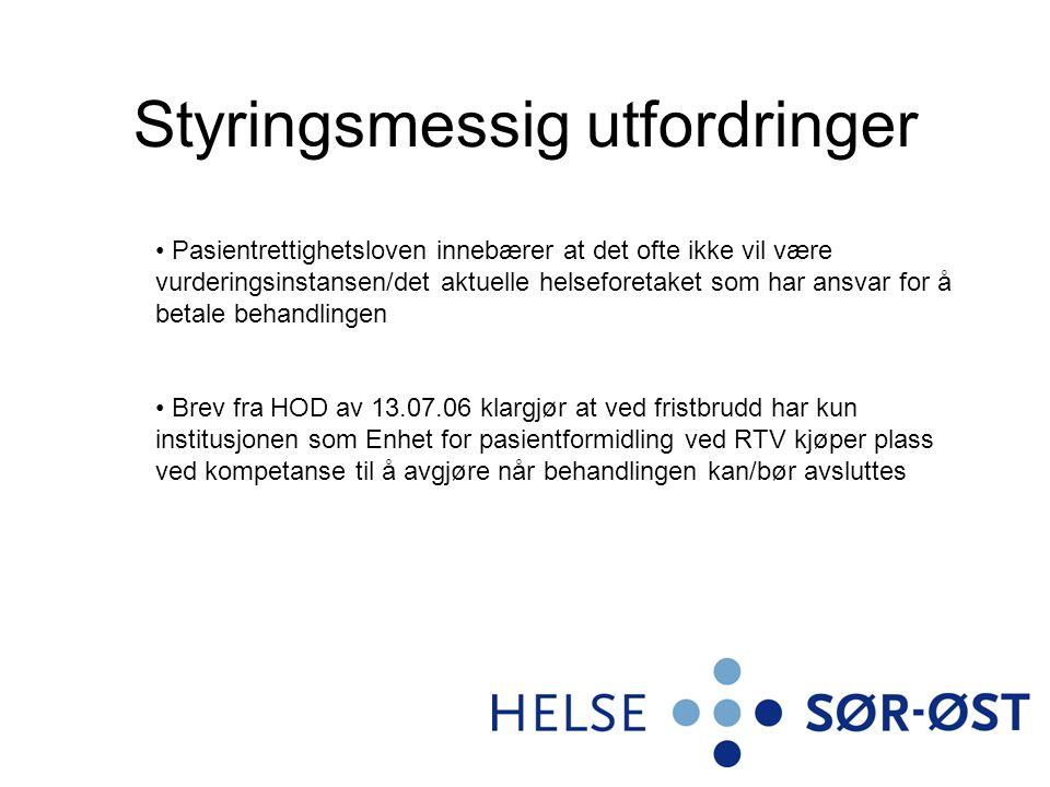 Avklaringsbehov Hvordan vil det nye RHF-et organisere seg innen fagområdene psykisk helsevern og TSB.