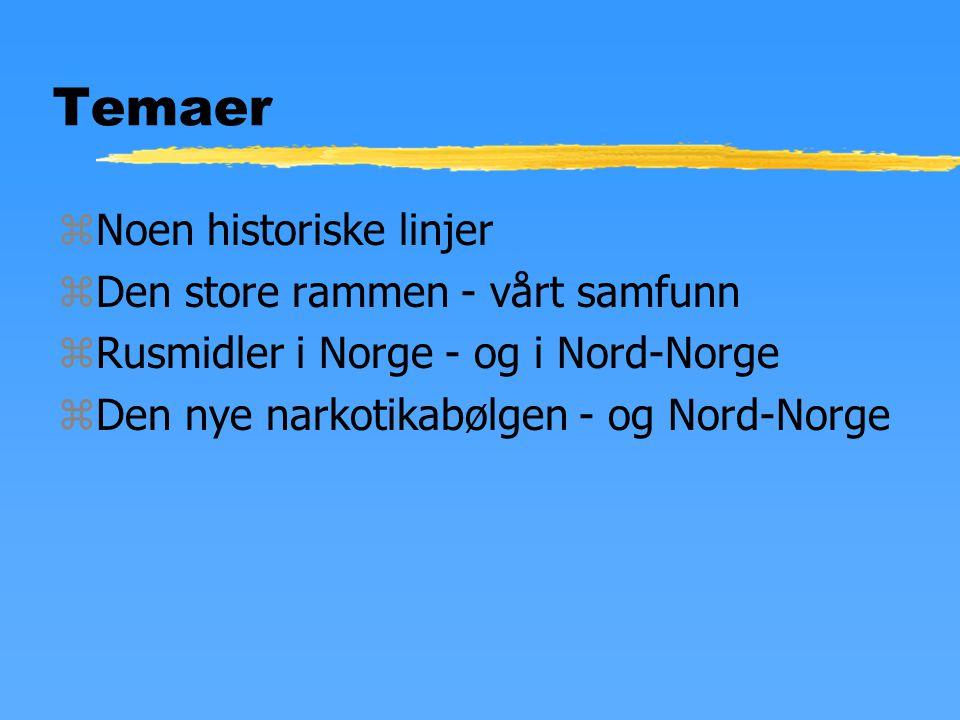 Temaer zNoen historiske linjer zDen store rammen - vårt samfunn zRusmidler i Norge - og i Nord-Norge zDen nye narkotikabølgen - og Nord-Norge