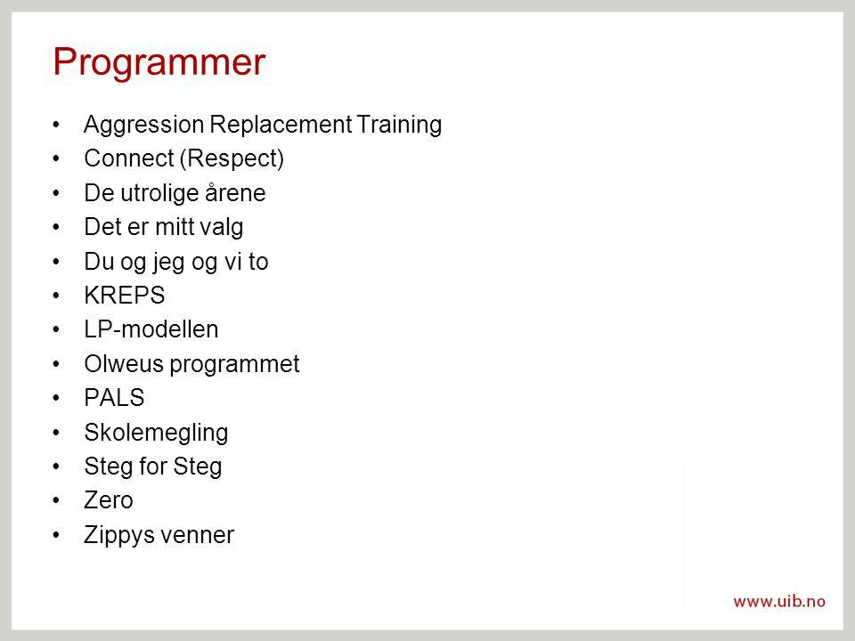 Programmer Aggression Replacement Training Connect (Respect) De utrolige årene Det er mitt valg Du og jeg og vi to KREPS LP-modellen Olweus programmet PALS Skolemegling Steg for Steg Zero Zippys venner