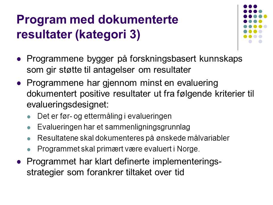 Program med dokumenterte resultater (kategori 3) Programmene bygger på forskningsbasert kunnskaps som gir støtte til antagelser om resultater Programmene har gjennom minst en evaluering dokumentert positive resultater ut fra følgende kriterier til evalueringsdesignet: Det er før- og ettermåling i evalueringen Evalueringen har et sammenligningsgrunnlag Resultatene skal dokumenteres på ønskede målvariabler Programmet skal primært være evaluert i Norge.