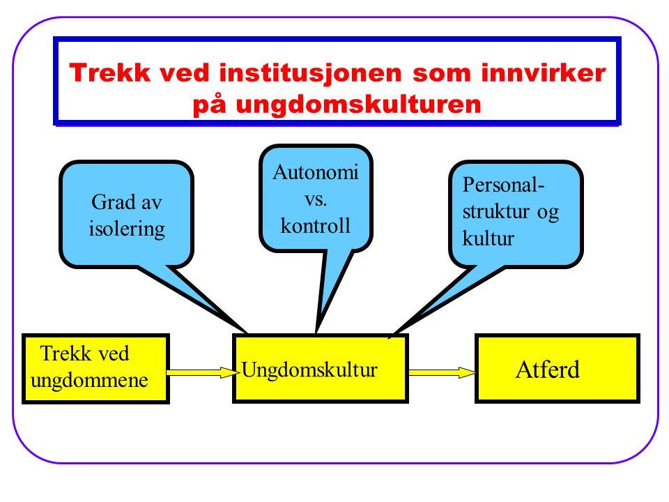 Trekk ved institusjonen som innvirker på ungdomskulturen Trekk ved ungdommene Ungdomskultur Atferd Personal- struktur og kultur Autonomi vs.