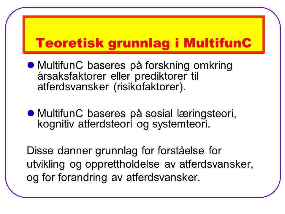 Teoretisk grunnlag i MultifunC MultifunC baseres på forskning omkring årsaksfaktorer eller prediktorer til atferdsvansker (risikofaktorer).