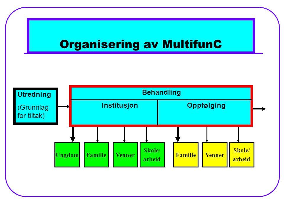 Organisering av MultifunC FamilieUngdomVenner Skole/ arbeid FamilieVenner Skole/ arbeid Utredning (Grunnlag for tiltak) Behandling InstitusjonOppfølging