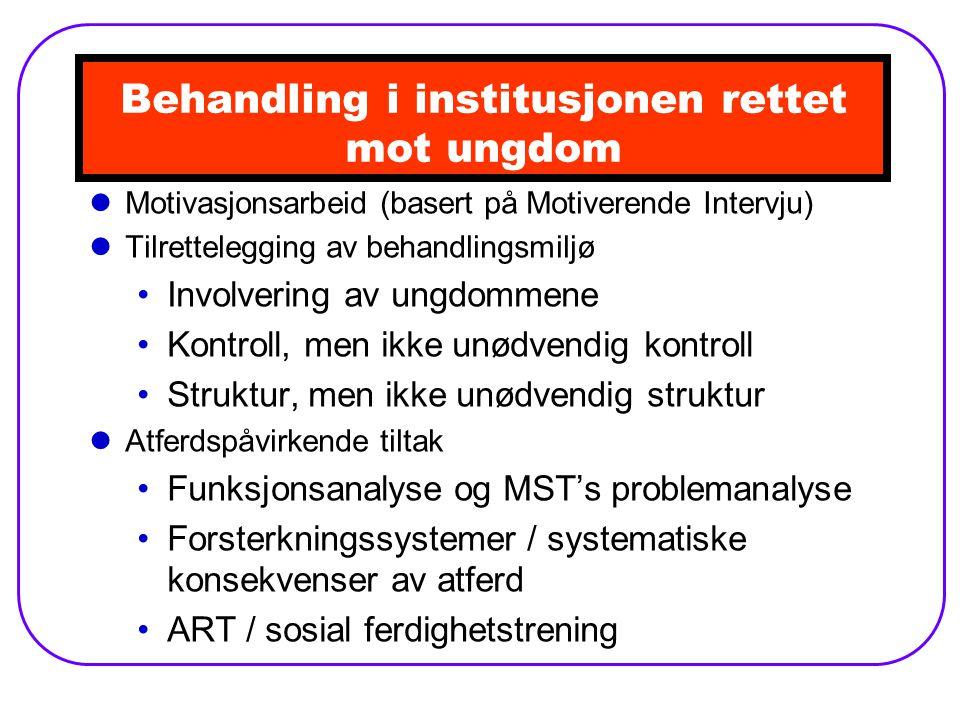 Behandling i institusjonen rettet mot ungdom Motivasjonsarbeid (basert på Motiverende Intervju) Tilrettelegging av behandlingsmiljø Involvering av ungdommene Kontroll, men ikke unødvendig kontroll Struktur, men ikke unødvendig struktur Atferdspåvirkende tiltak Funksjonsanalyse og MST's problemanalyse Forsterkningssystemer / systematiske konsekvenser av atferd ART / sosial ferdighetstrening