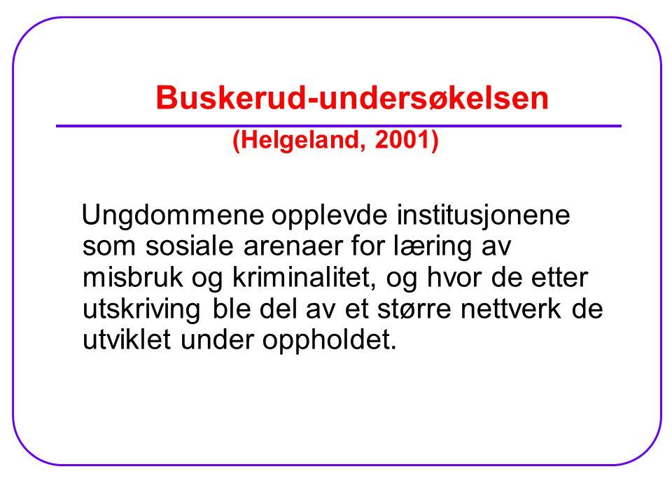 Buskerud-undersøkelsen (Helgeland, 2001) Ungdommene opplevde institusjonene som sosiale arenaer for læring av misbruk og kriminalitet, og hvor de etter utskriving ble del av et større nettverk de utviklet under oppholdet.