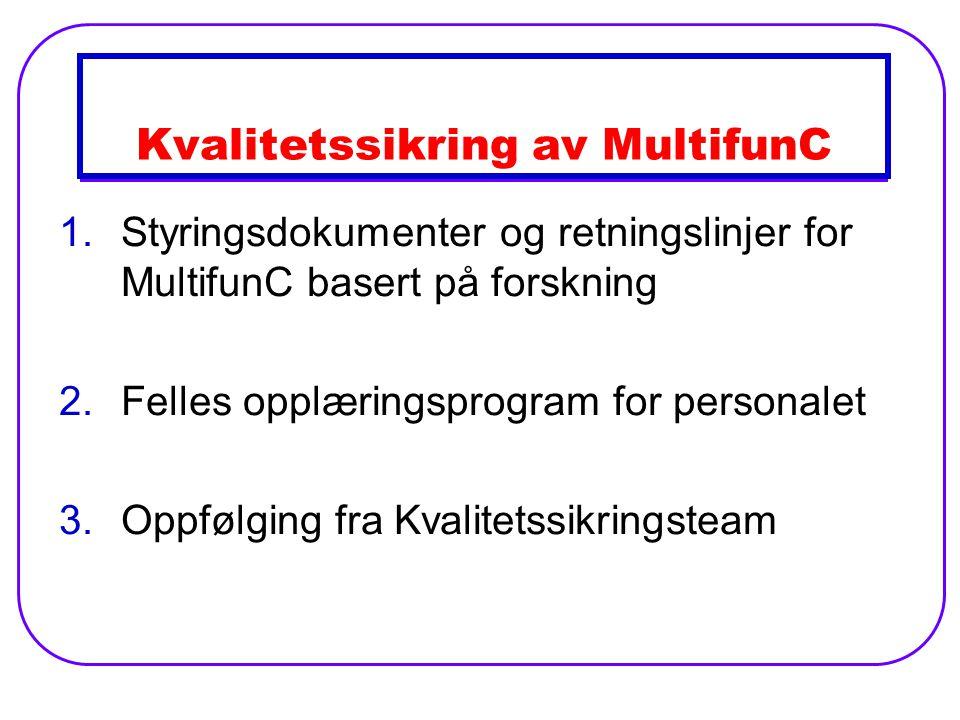 Kvalitetssikring av MultifunC 1.Styringsdokumenter og retningslinjer for MultifunC basert på forskning 2.Felles opplæringsprogram for personalet 3.Oppfølging fra Kvalitetssikringsteam