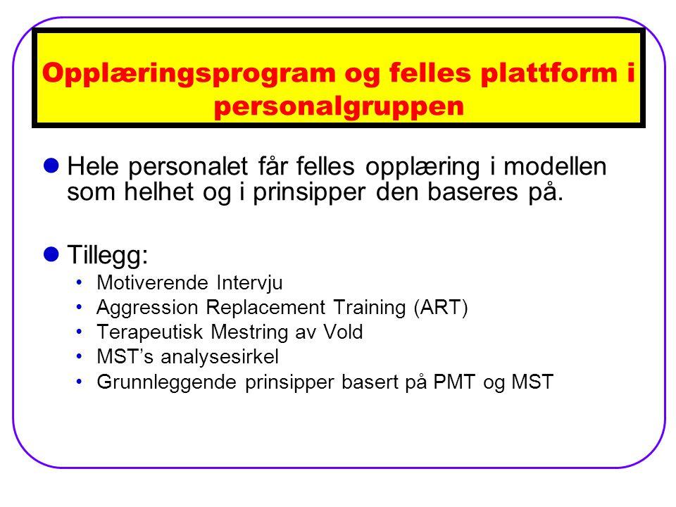 Opplæringsprogram og felles plattform i personalgruppen Hele personalet får felles opplæring i modellen som helhet og i prinsipper den baseres på.
