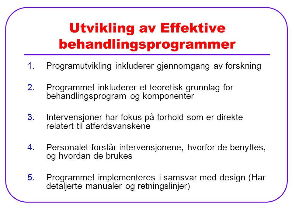 Utvikling av Effektive behandlingsprogrammer 1.Programutvikling inkluderer gjennomgang av forskning 2.Programmet inkluderer et teoretisk grunnlag for behandlingsprogram og komponenter 3.Intervensjoner har fokus på forhold som er direkte relatert til atferdsvanskene 4.Personalet forstår intervensjonene, hvorfor de benyttes, og hvordan de brukes 5.Programmet implementeres i samsvar med design (Har detaljerte manualer og retningslinjer)