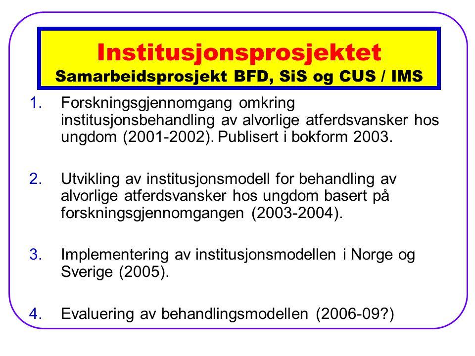 1.Forskningsgjennomgang omkring institusjonsbehandling av alvorlige atferdsvansker hos ungdom (2001-2002).