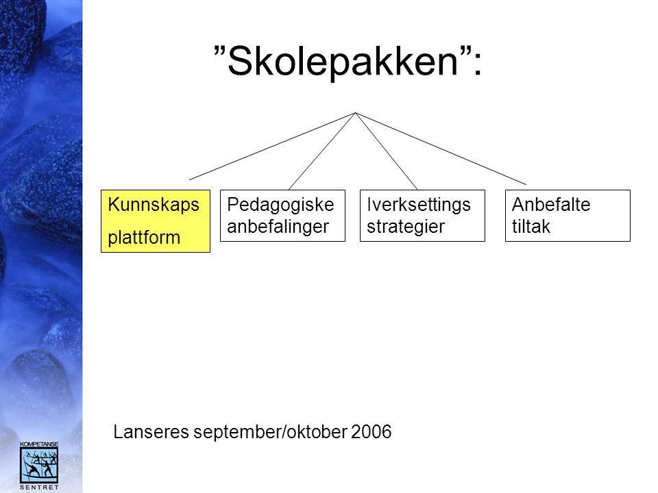 """""""Skolepakken"""": Kunnskaps plattform Pedagogiske anbefalinger Iverksettings strategier Anbefalte tiltak Lanseres september/oktober 2006"""