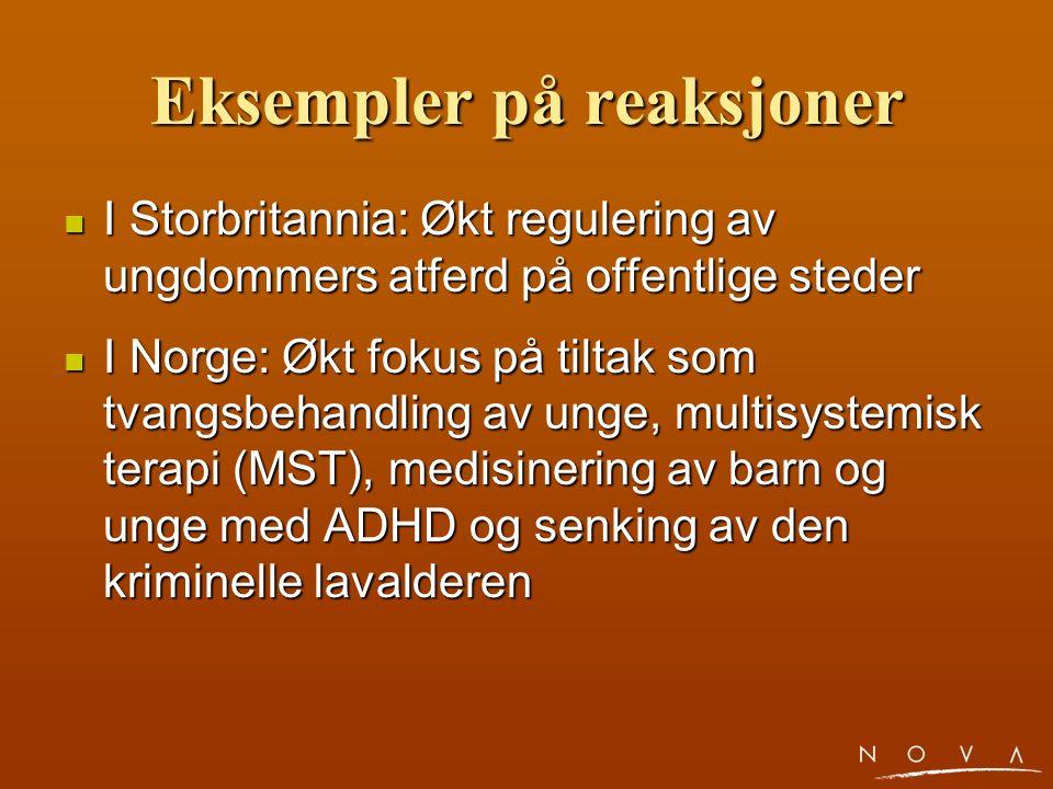 Eksempler på reaksjoner I Storbritannia: Økt regulering av ungdommers atferd på offentlige steder I Storbritannia: Økt regulering av ungdommers atferd på offentlige steder I Norge: Økt fokus på tiltak som tvangsbehandling av unge, multisystemisk terapi (MST), medisinering av barn og unge med ADHD og senking av den kriminelle lavalderen I Norge: Økt fokus på tiltak som tvangsbehandling av unge, multisystemisk terapi (MST), medisinering av barn og unge med ADHD og senking av den kriminelle lavalderen