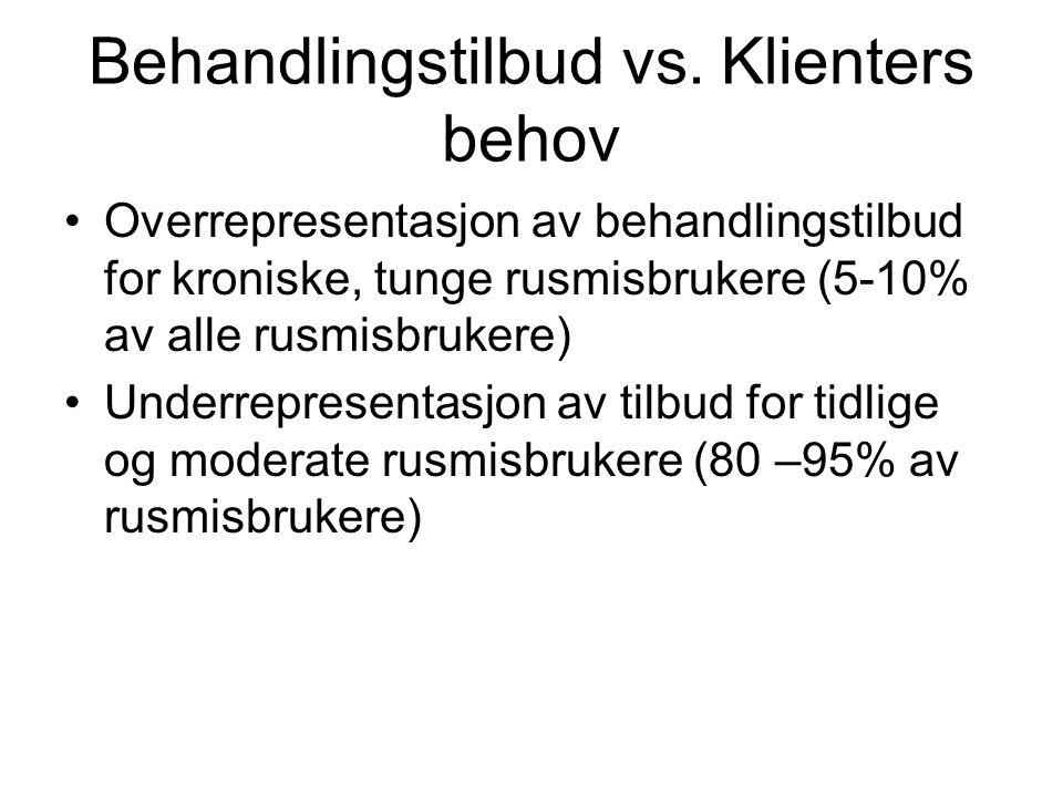 Behandlingstilbud vs. Klienters behov Overrepresentasjon av behandlingstilbud for kroniske, tunge rusmisbrukere (5-10% av alle rusmisbrukere) Underrep